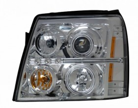 2002 CADILLAC ESCALADE PROJECTOR HEADLIGHTS (PAIR) HALO CHROME CLEAR AMBER(CCFL)  (CG Distribution)