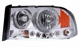 1997-2004 DODGE DAKOTA 1 PC L HEADLIGHTS (PAIR) HALO CHORME WITH AMBER  (CG Distribution)