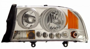 1997-2004 DODGE DAKOTA 1 PC HEADLIGHTS (PAIR) HALO CHROME WITH AMBER (CCFL)   (Anzo USA)