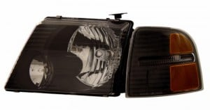 2002-2005 FORD EXPLORER HEADLIGHTS (PAIR) BLACK WITH CORNER LIGHT AMBER   (CG Distribution)