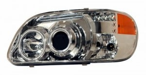 1995-2001 FORD EXPLORER PROJECTOR HEADLIGHTS (PAIR) 1 PCS CHROME CLEAR AMBER   (CG Distribution)