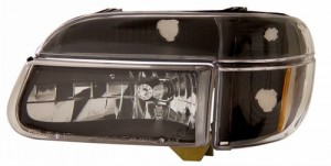 1995-2001 FORD EXPLORER CRYSTAL HEADLIGHTS (PAIR) BLACK AMBER   (Anzo USA)