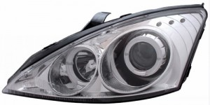 2000-2002 FORD FOCUS PROJECTOR HEADLIGHTS (PAIR) HALO CHROME CLEAR WITH LED  (Anzo USA)