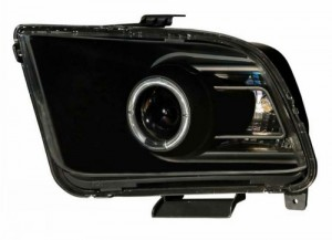 2005-2009 FORD MUSTANG PROJECTOR HEADLIGHTS (PAIR) HALO BLACK CLEAR(10 STYLE)  (Anzo USA)