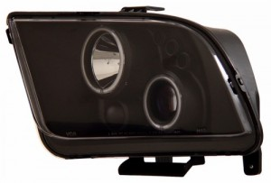 2005-2009 FORD MUSTANG PROJECTOR HEADLIGHTS (PAIR) HALO BLACK CLEAR (CCFL)  (CG Distribution)