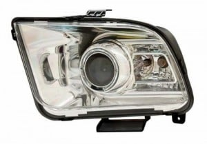 2005-2009 FORD MUSTANG PROJECTOR HEADLIGHTS (PAIR) HALO CHROME CLEAR(10 STYLE)  (CG Distribution)