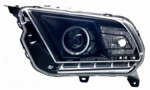 2010-2012 FORD MUSTANG PROJECTOR HEADLIGHTS (PAIR) HALO BLACK CLEAR (HID COMPATIBLE&CCFL)  (Anzo USA)