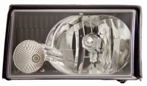 1987-1993 FORD MUSTANG CRYSTAL HEADLIGHTS (PAIR) BLACK   (Anzo USA)
