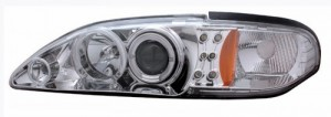1994-1998 FORD MUSTANG 1 PC PROJECTOR HEADLIGHTS (PAIR) G2 2 HALO CHROME CLEAR AMBER   (CG Distribution)