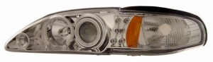 1994-1998 FORD MUSTANG 1 PC PROJECTOR HEADLIGHTS (PAIR) HALO CHROME CLEAR AMBER(CCFL)   (CG Distribution)