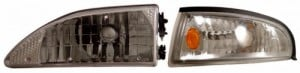 1994-1998 FORD MUSTANG CRYSTAL HEADLIGHTS (PAIR) CHROME W/ CORNER AMBER  (CG Distribution)