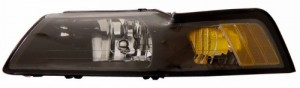 1999-2004 FORD MUSTANG CRYSTAL HEADLIGHTS (PAIR) BLACK AMBER   (CG Distribution)