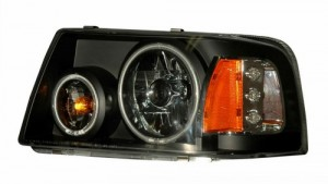 2001-2009 FORD RANGER HEADLIGHTS (PAIR) HALO 1 PCS BLACK AMBER (CCFL)  (Anzo USA)