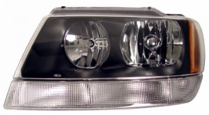 2002-2004 JEEP GRAND CHEROKEE CRYSTAL HEADLIGHTS (PAIR) BLACK AMBER   (CG Distribution)