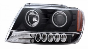 1999-2004 JEEP GRAND CHEROKEE PROJECTOR HEADLIGHTS (PAIR) HALO BLACK CLEAR AMBER (CCFL)  (CG Distribution)