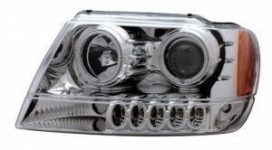 1999-2004 JEEP GRAND CHEROKEE PROJECTOR HEADLIGHTS (PAIR) HALO CHROME CLEAR AMBER (CCFL)  (Anzo USA)