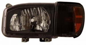1999-2003 NISSAN PATHFINDER HEADLIGHTS (PAIR) BLACK AMBER WITH CORNER LIGHT   (Anzo USA)