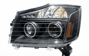 2008-2009 NISSAN TITAN PROJECTOR LED HEADLIGHTS (PAIR) HALO BLACK CLEAR AMBER(CCFL)  (Anzo USA)