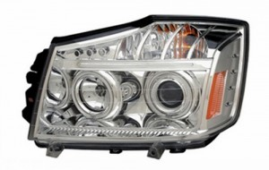 2008-2009 NISSAN TITAN PROJECTOR LED HEADLIGHTS (PAIR) HALO CHROME CLEAR AMBER(CCFL)  (CG Distribution)