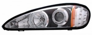 1999-2005 PONTIAC GRAND AM PROJECTOR HEADLIGHTS (PAIR) HALO WITH LED BLACK CLEAR AMBER  (CG Distribution)