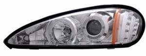 1999-2005 PONTIAC GRAND AM PROJECTOR HEADLIGHTS (PAIR) HALO WITH LED CHROME CLEAR AMBER  (CG Distribution)