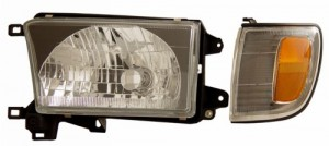 1999-2002 TOYOTA 4 RUNNER HEADLIGHTS (PAIR) BLACK WITH CORNER LIGHT AMBER  (CG Distribution)