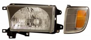 1999-2002 TOYOTA 4 RUNNER HEADLIGHTS (PAIR) BLACK WITH CORNER LIGHT AMBER  (Anzo USA)
