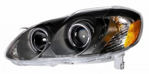 2003-2005 TOYOTA COROLLA PROJECTOR HEADLIGHTS (PAIR) HALO BLACK CLEAR WITH LED AMBER   (CG Distribution)
