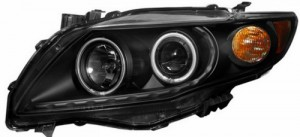 2009-2013 TOYOTA COROLLA PROJECTOR HALO HEADLIGHTS (PAIR) BLACK CLEAR AMBER(CCFL)  (Anzo USA)