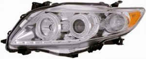 2009-2013 TOYOTA COROLLA PROJECTOR HALO HEADLIGHTS (PAIR) CHROME CLEAR AMBER(CCFL)  (CG Distribution)