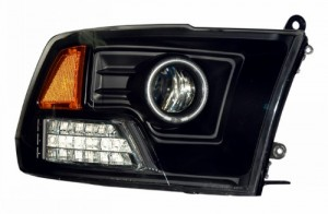 2009-2011 DODGE RAM PROJECTOR HEADLIGHTS (PAIR) HALO LED BLACK AMBER (CCFL)  (Anzo USA)