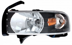 1994-2001 DODGE RAM CRYSTAL HEADLIGHTS (PAIR) BLACK WITH LED AMBER  (Anzo USA)