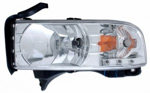 1994-2001 DODGE RAM CRYSTAL HEADLIGHTS (PAIR) CHROME WITH LED AMBER  (Anzo USA)