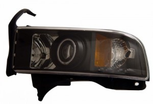 1994-2001 DODGE RAM PROJECTOR HEADLIGHTS (PAIR) HALO BLACK CLEAR AMBER (CCFL)   (Anzo USA)