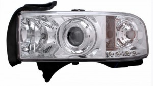 1994-2001 DODGE RAM PROJECTOR HEADLIGHTS (PAIR) HALO CHROME CLEAR AMBER  (Anzo USA)