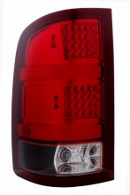 2007-2008 GMC SIERRA LED TAIL LIGHTS (PAIR) BLACK HOUSING RED/CLEAR LENS  (Anzo USA)