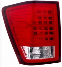 2007-2009 JEEP GRAND CHEROKEE LED TAIL LIGHTS (PAIR) RED/CLEAR  (CG Distribution)