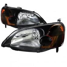 2001 2003 Honda Civic Euro Headlight Dx Ex Gx Hx Hybrid Lx Spec D Tuning 2lh Cv01jm Sy