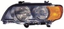 2000 - 2003 BMW X5 Headlight Assembly (Halogen + with Amber Turn Signals) - Left (Driver) Replacement