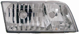 1998-2002 Ford Crown Victoria Headlight Assembly (without Bulbs or Sockets / Replacement Lens Design) - Left (Driver)