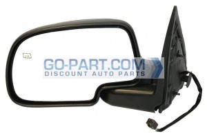 1999-2002 GMC Sierra Side View Mirror (Standard Style / Power Remote / Heated / Matte-Black Base) - Left (Driver)