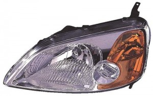 2001 - 2003 Honda Civic Front Headlight Assembly Replacement Housing / Lens / Cover - Left (Driver) Side - (2 Door; Coupe)