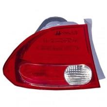 2006 -  2008 Honda Civic Rear Tail Light Assembly Replacement / Lens / Cover - Left (Driver) Side - (4 Door; Sedan + Hybrid 4 Door; Sedan; Gas Hybrid)